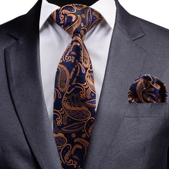 Other - Mens 100% Silk Tie Set Navy